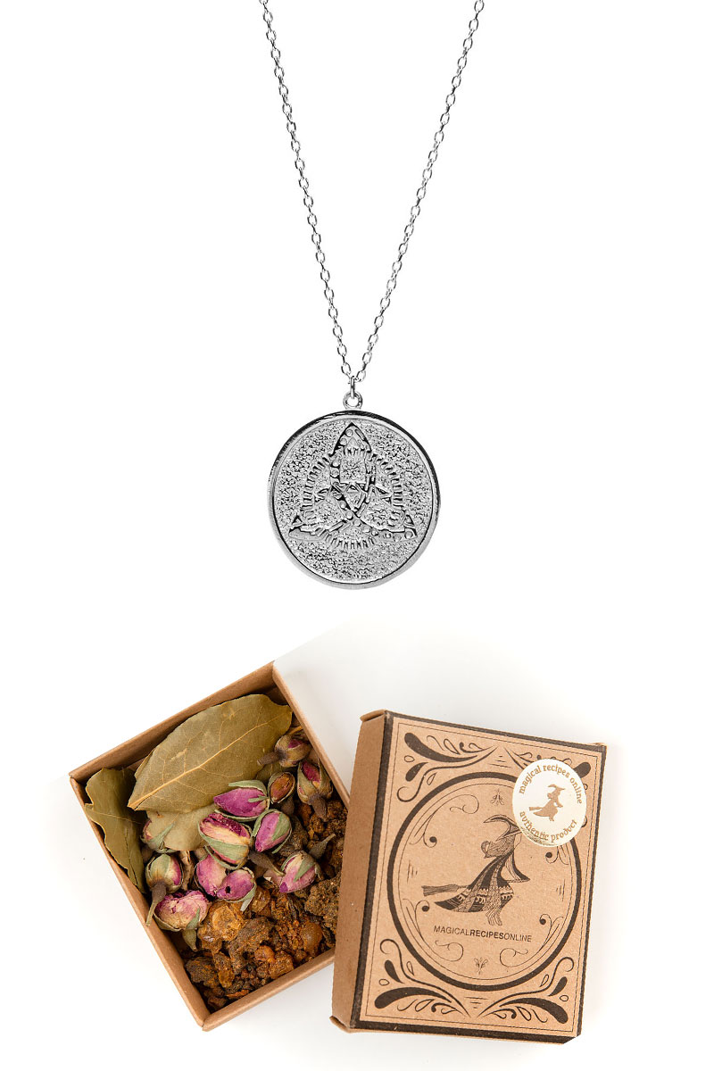 Get a Silver Triquetra Necklace with an alchemical 'activation herbal mix' exclusively in Magical Recipes Online