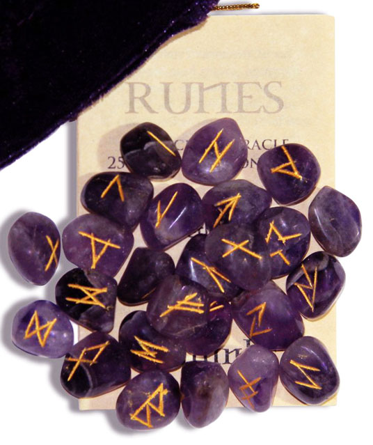 crystal amethyst runes stones