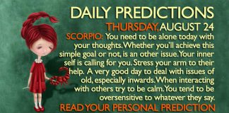 Daily Predictions for Thursday, 24 August 2017