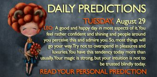 Daily Predictions for Tuesday, 29 August 2017