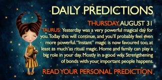 Daily Predictions for Thursday, 31 August 2017