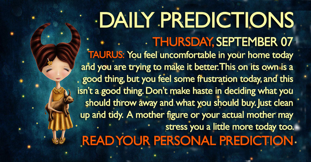 Daily Predictions for Thursday, 7 September 2017