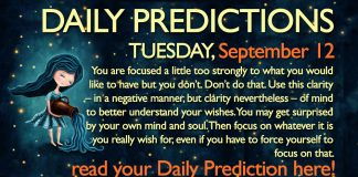 Daily Predictions for Tuesday, 12 September 2017