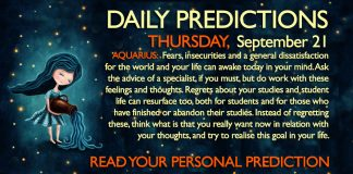 Daily Predictions for Thursday, 21 September 2017