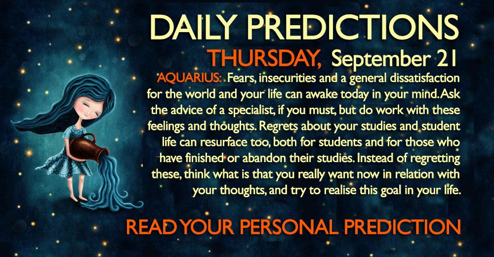 Daily Predictions for Thursday, 21 September 2017