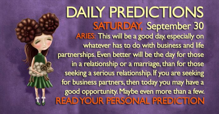Daily Predictions for Saturday, 30 September 2017