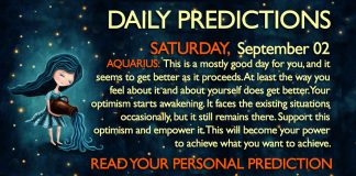 Daily Predictions for Saturday, 2 September 2017