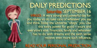 Daily Predictions for Saturday, 16 September 2017