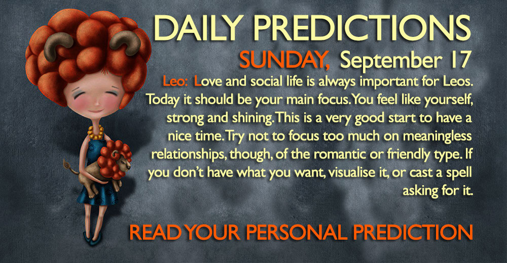 Daily Predictions for Sunday, 17 September 2017