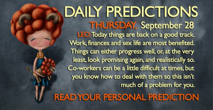 Daily Predictions for Thursday, 28 September 2017