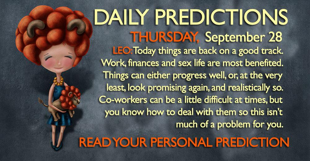 Daily Predictions for Thursday, 28 September 2017