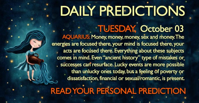 Daily Predictions for Tuesday, 3 October 2017