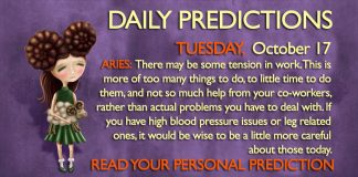 Daily Predictions for Tuesday, 17 October 2017