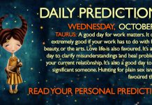 Daily Predictions for Wednesday, 18 October 2017