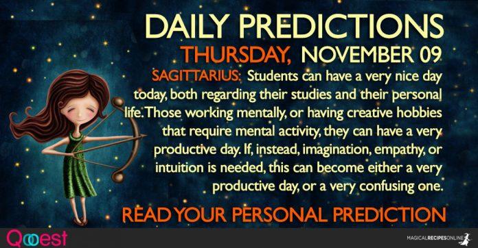 NOVEMBER 09 DAILY PREDICTIONS ASTROLOGY HOROSCOPES