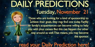 Daily Predictions for Tuesday, 21 November 2017