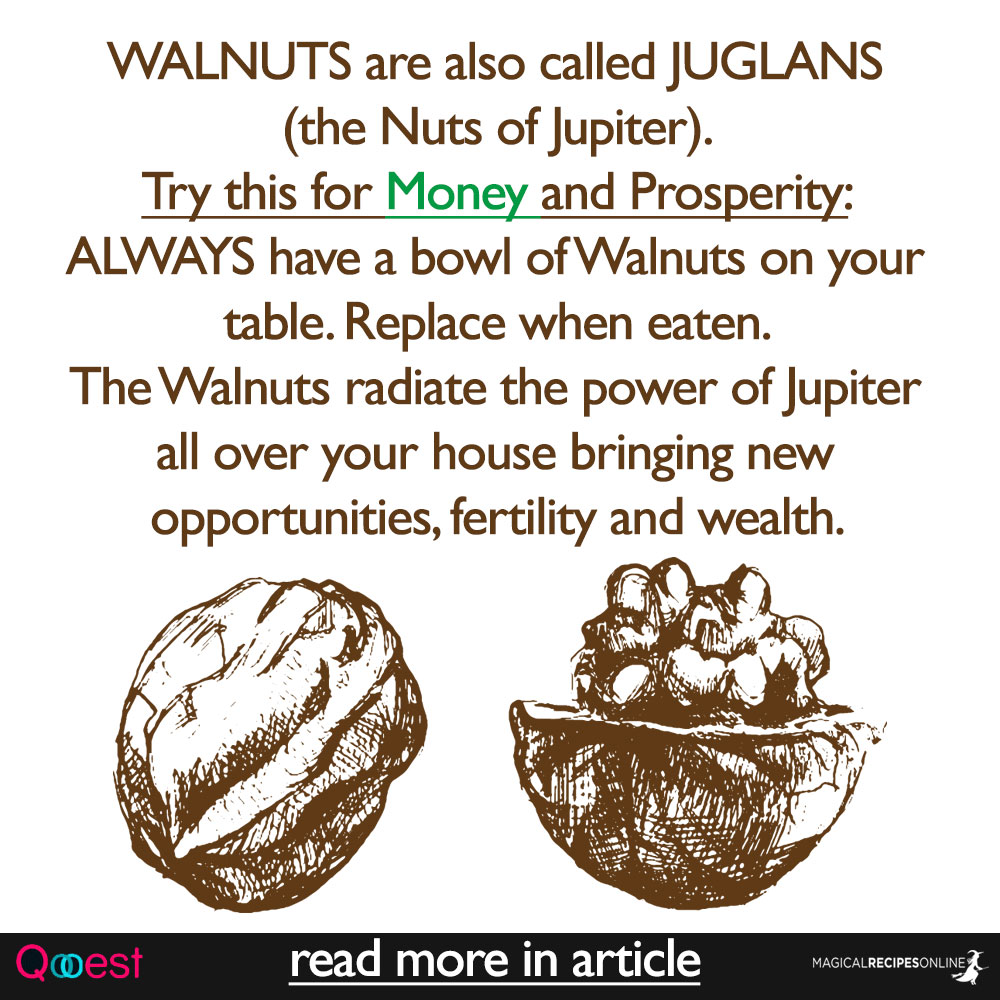 WALNUTS are also called JUGLANS (the Nuts of Jupiter). Try this for Money and Prosperity: ALWAYS have a bowl of Walnuts on your table. Replace when eaten. The Walnuts radiate the power of Jupiter all over your house bringing new opportunities, fertility and wealth.