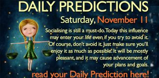 Daily Predictions for Saturday, 11 November 2017