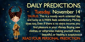 Daily Predictions for Tuesday, 14 November 2017
