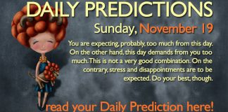 Daily Predictions for Sunday, 19 November 2017