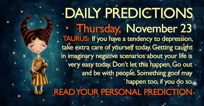 Daily Predictions for Thursday, 23 November 2017