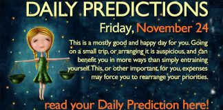 Daily Predictions for Friday, 24 November 2017