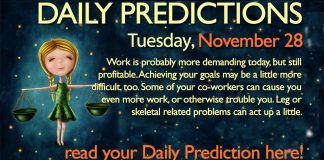 Daily Predictions for Tuesday, 28 November 2017