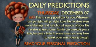 Daily Predictions for Thursday, 07 December 2017