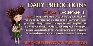Daily Predictions for Friday, 01 December 2017
