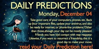 Daily Predictions for Monday, 04 December 2017