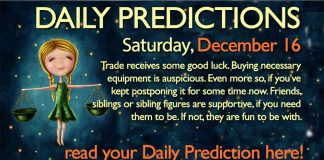 Daily Predictions for Saturday, 16 December 2017