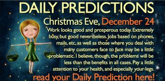 Daily Predictions for Sunday, 24 December 2017