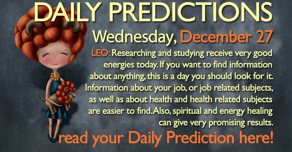 Daily Predictions for Wednesday, 27 December 2017