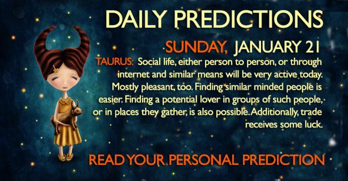 Daily Predictions for Sunday, 21 January 2018