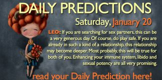 Daily Predictions for Saturday, 20 January 2018