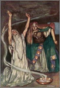 More details 'Queen Meave and the Druid', from Eleanor Hull's The Boys' Cuchulainn (1904)