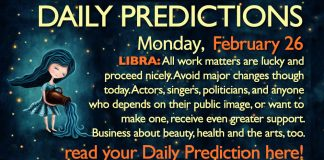 Daily Predictions for Monday, 26 February 2018