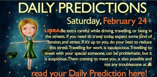 Daily Predictions for Saturday, 24 February 2018