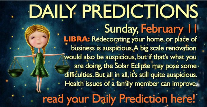 Daily Predictions for Sunday, 11 February 2018
