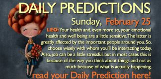 Daily Predictions for Sunday, 25 February 2018
