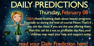 Daily Predictions for Thursday, 8 February 2018