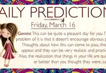 Daily Predictions for Friday, 16 March 2018