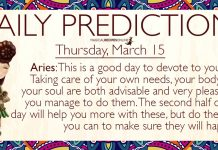 Daily Predictions for Thursday, 15 March 2018