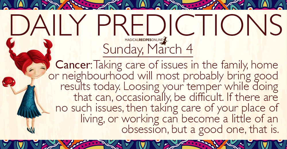Daily Predictions for Sunday, 4 March 2018