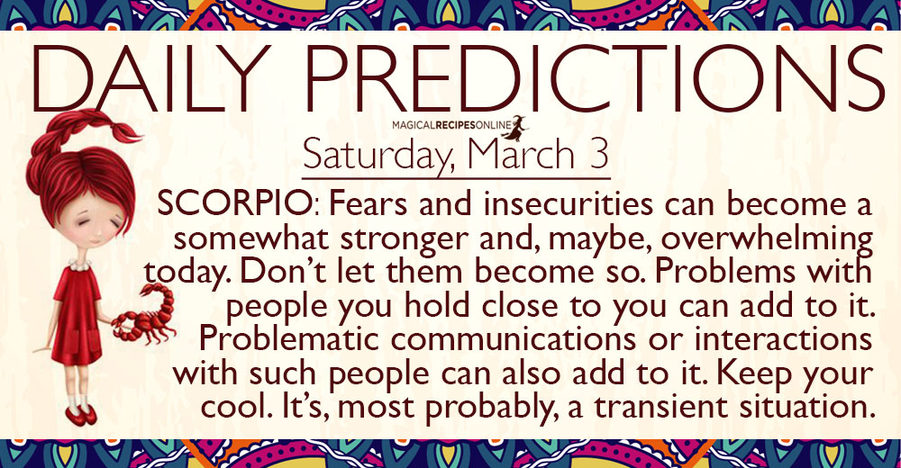 Daily Predictions for Saturday, 3 March 2018