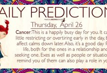 Daily Predictions for Thursday, 26 April 2018