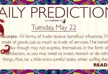 Daily Predictions for Tuesday, 22 May 2018
