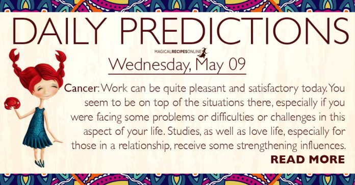 Daily Predictions for Wednesday, 9 May 2018