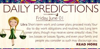 Daily Predictions for Friday, 1 June 2018