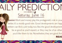 Daily Predictions for Friday, 15 June 2018